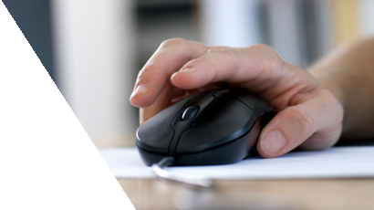 Man's hand on a computer mouse