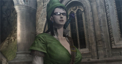 Bayonetta wearing the outfit of The Legend of Zelda's Link, in the game Bayonetta 2 for Wii U. Image credit: BagoGames