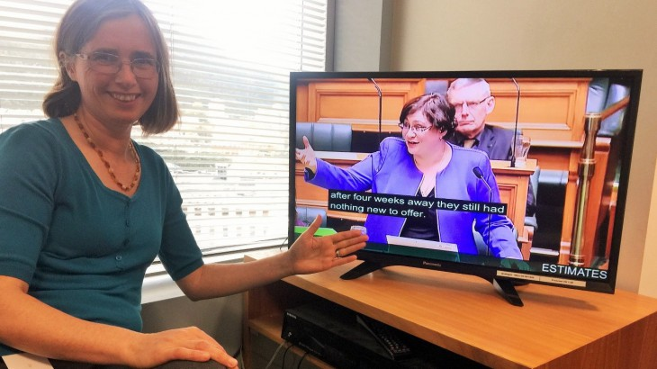 Image of NZ Green Party MP, Mojo Mathers, observing parliament on TV
